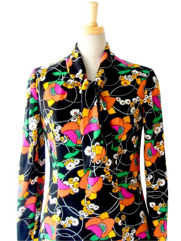 【送料無料】フランス買い付け 60年代製 ブラック X カラフル レトロ花柄 ボウタイ ワンピース : 13FC704【在庫一点限り】