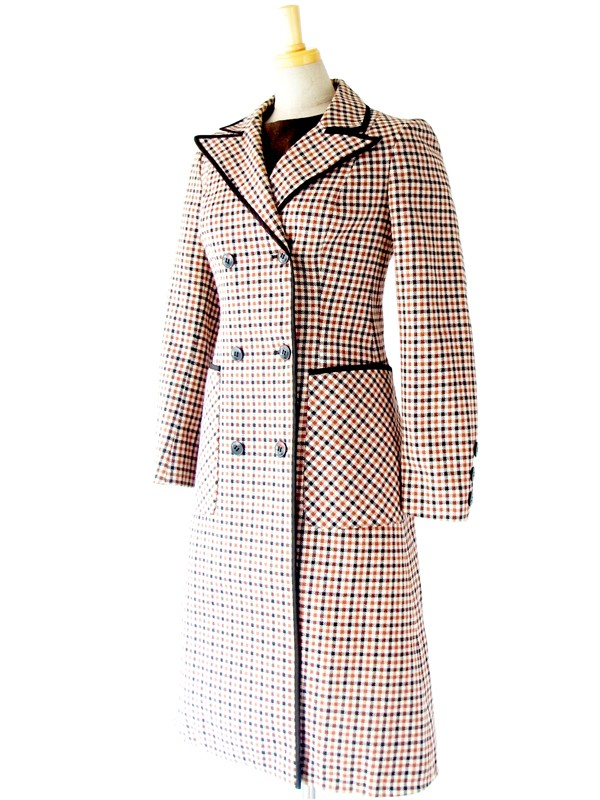 【送料無料】フランス買い付け 60年代製 ブラウン X ホワイト X ブラック チェック柄 ウール コート : 13FC708【在庫一点限り】