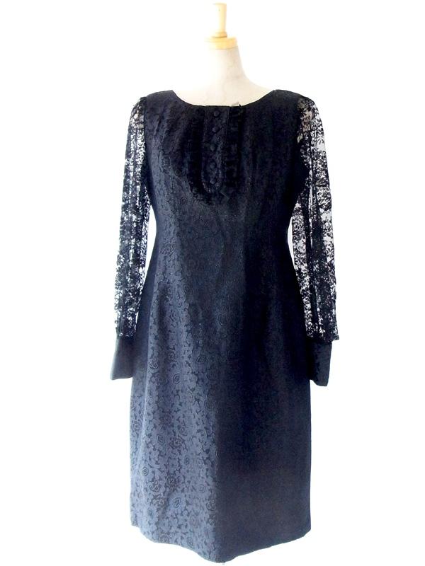 ヨーロッパ古着 フランス買い付け 60年代製 ブラック 花柄刺繍 レース袖 ワンピース : 13FC710