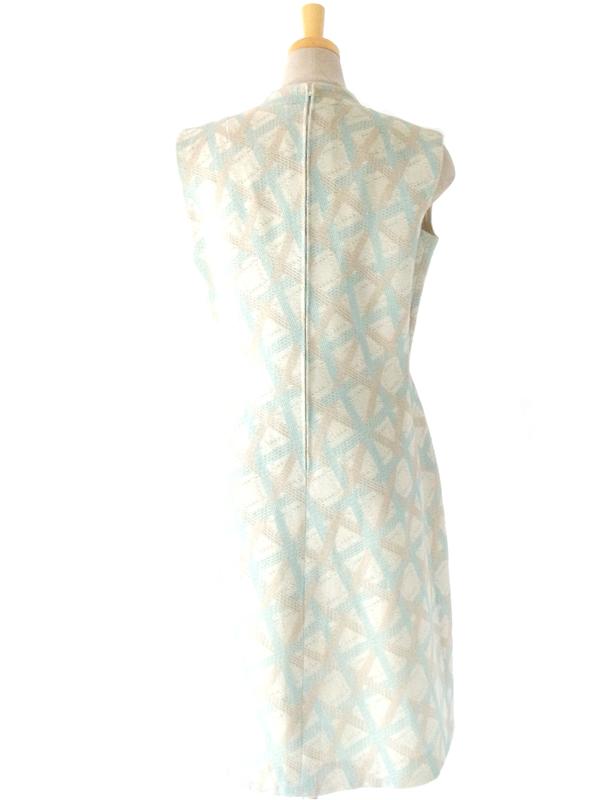 ヨーロッパ古着 フランス買い付け 60年代製 ベージュ・パステルブルー×格子柄 織地 ヴィンテージ ワンピース