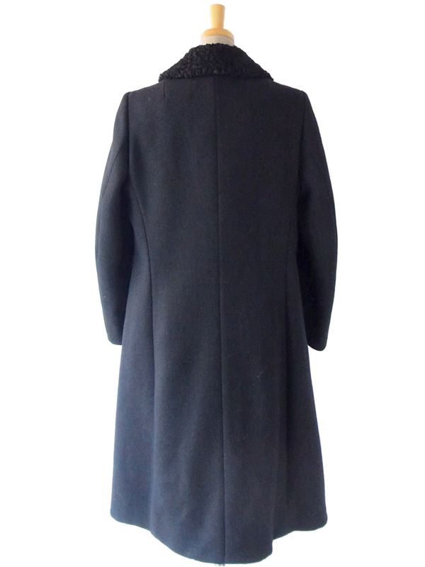 ヨーロッパ古着 フランス買い付け 60年代製 ブラック X ボア襟 エレガントライン ヴィンテージ ウール コート: 13FC816