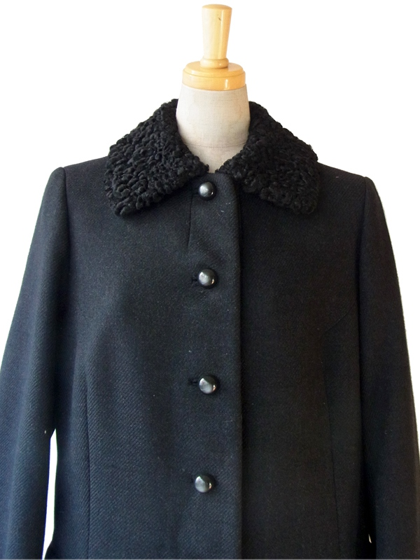 ヨーロッパ古着 フランス買い付け 60年代製 ブラック X ボア襟 エレガントライン ヴィンテージ ウール コート: 13FC820