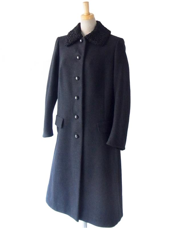 ヨーロッパ古着 フランス買い付け 60年代製 ブラック X ボア襟 エレガントライン ヴィンテージ ウール コート: 13FC824