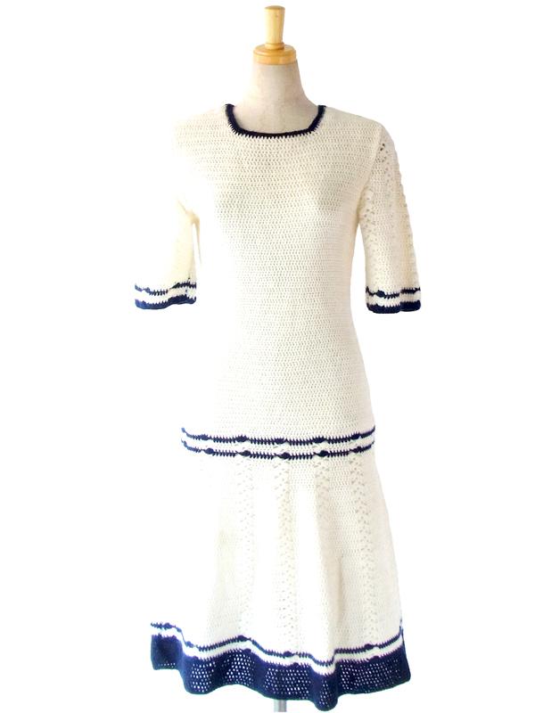 ヨーロッパ古着 フランス買い付け 60年代製 ホワイト X ブルー ライン ヴィンテージ ニット ワンピース : 13FC818
