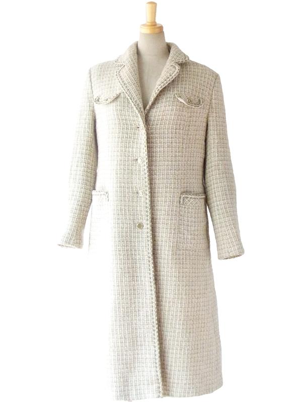 ヨーロッパ古着 フランス買い付け 60年代製 アイボリー・グリーン・ブラウン ヴィンテージ ウール ツイード コート 13FC828