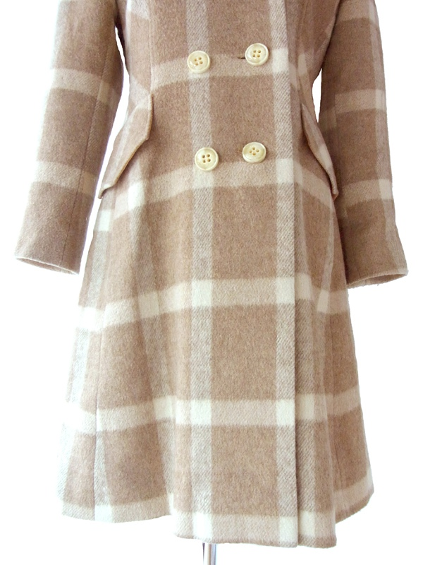 ヨーロッパ古着 ロンドン買い付け 60年代製 ブラウンXアイボリー チェック柄 ヴィンテージ ウール ワンピース 13SP3