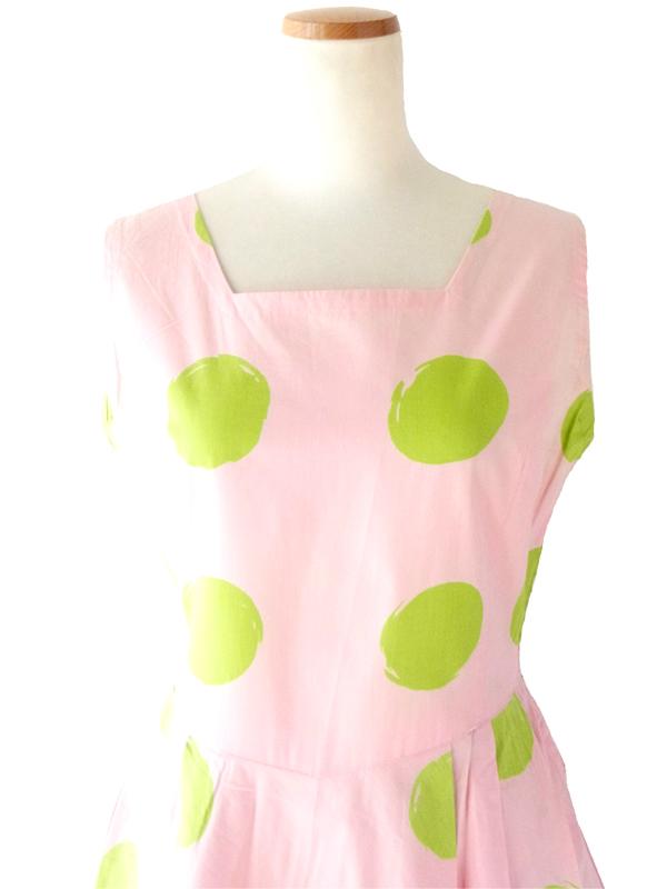 65年代製 ピンク X グリーン 水玉プリント ワンピース