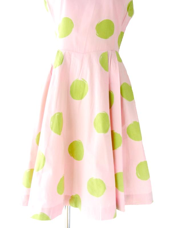 67年代製 ピンク X グリーン 水玉プリント ワンピース