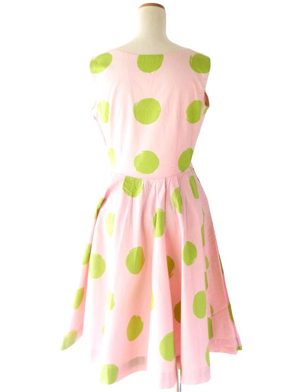 74年代製 ピンク X グリーン 水玉プリント ワンピース