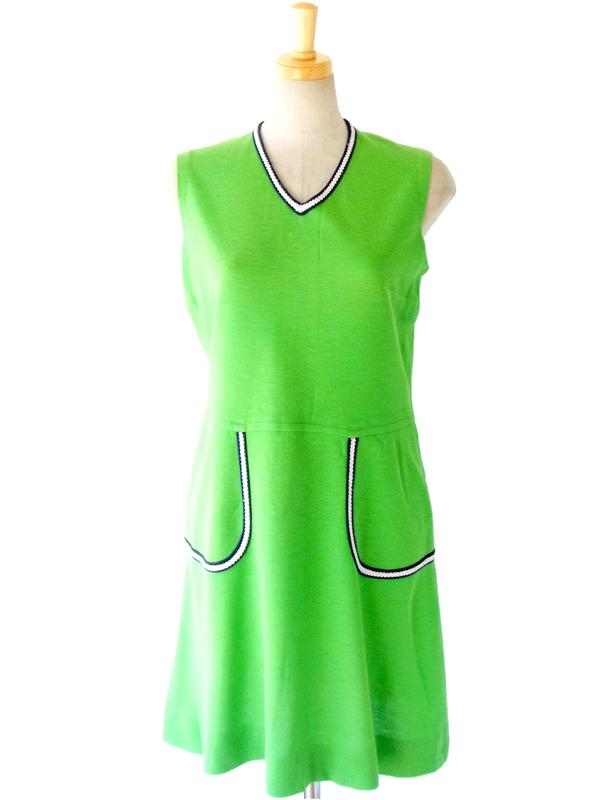 ヨーロッパ古着 60年代製 鮮やかなグリーン X 紺・白 リボンパイピング レトロ ヴィンテージ ワンピース 14FC211