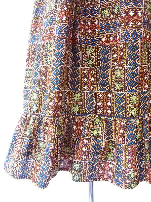 フランス買い付け 60年代製  ブラウン x イエロー・ブルー アフリカンファブリック フレア袖 ロング丈 ワンピース 14FC310