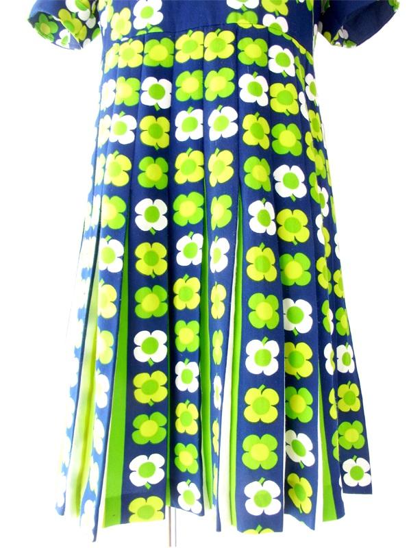 フランス買い付け 60年代製 ネイビー X 黄緑 マーガレット柄 レトロ ワンピース