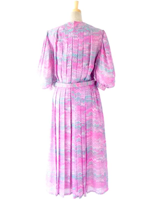 60年代フランス製 ピンク 水色 波模様 ゴールドラメ糸入り レトロデザイン プリーツ ワンピース 14FC429