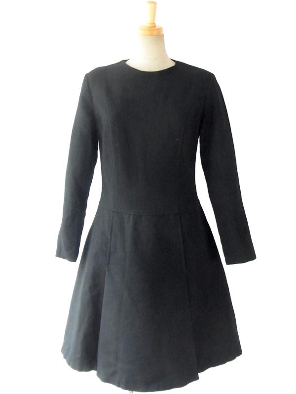 フランス買い付け 60年代製 シックなブラック X 美麗シルエット ヴィンテージ ワンピース 14FC706