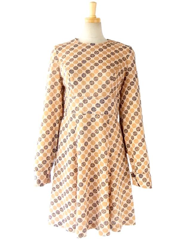ヨーロッパ古着 フランス買い付け 60年代製 オレンジ X ブルー レトロプリント デザイン袖 ヴィンテージ ワンピース