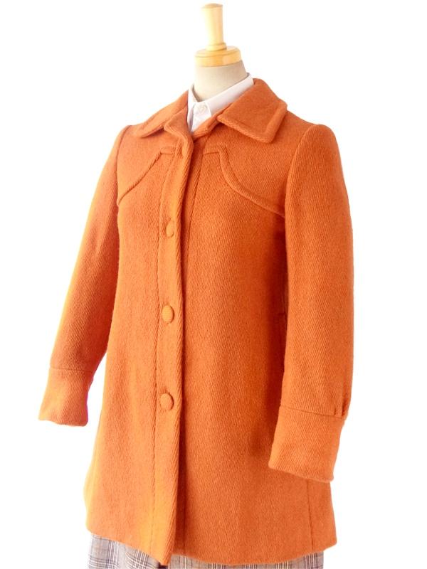 ヨーロッパ古着 フランス買い付け 60年代製 きれいなオレンジ X くるみボタン ヴィンテージ ショート丈 ウール コート 14FC722