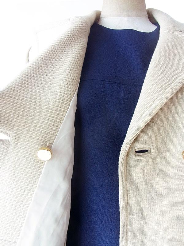 ヨーロッパ古着 フランス買い付け 60年代製 アイボリー X ダブルボタン シームデザイン 厚手ウール コート 14FC723B