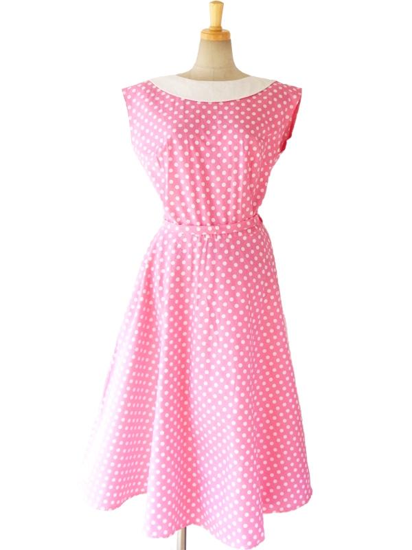 ロンドン買い付け 60年代製 ピンク X ホワイト 水玉 サーキュラー襟 ヴィンテージ ワンピース 15BS030