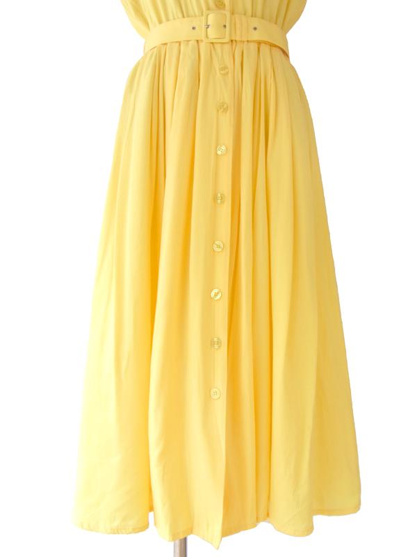 ヨーロッパ古着 ロンドン買い付け 60年代製 イエロー X 襟元・背面 花柄カットレース・刺繍飾り ベルト付き ワンピース 15BS209