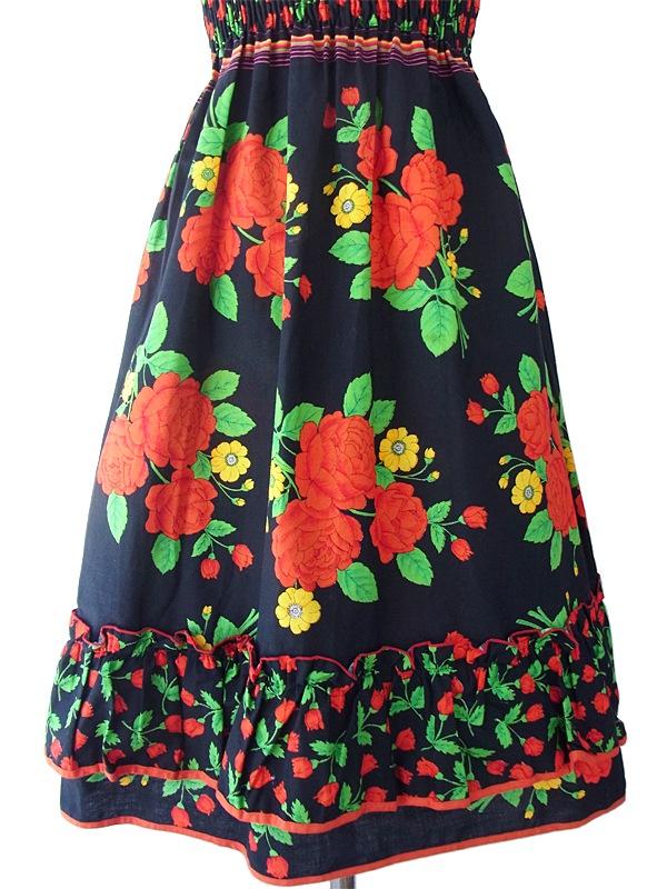 ヨーロッパ古着 ロンドン買い付け 60年代製 ブラック X レッド・グリーン 薔薇プリント ストラップ ワンピース 15BS221