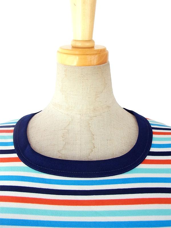 ヨーロッパ古着 ロンドン買い付け 水色・ホワイト・オレンジ ボーダー X ネイビースカート 切り返し レトロ ワンピース 15BS226