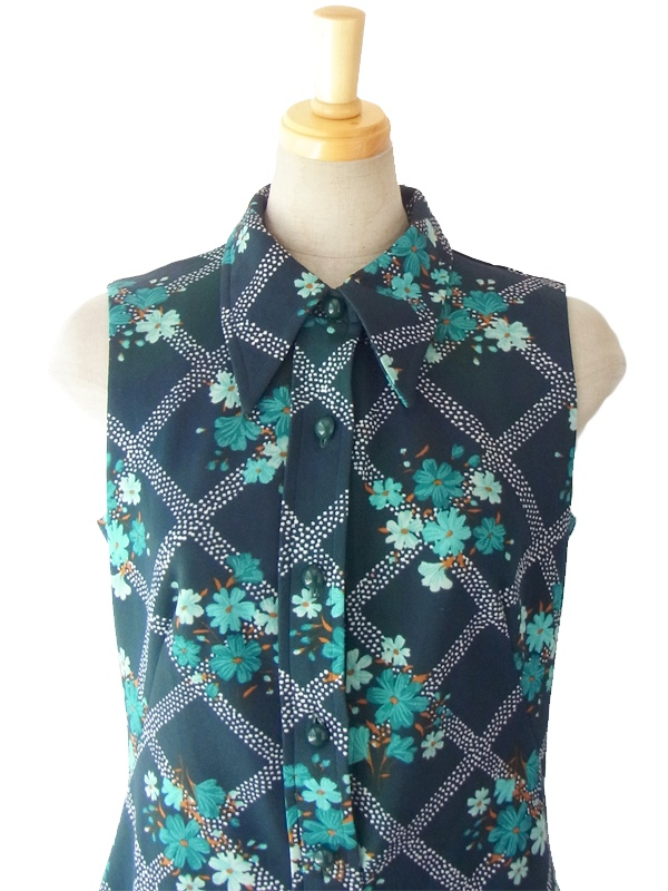 ヨーロッパ古着 ロンドン買い付け 60年代製 グリーン X ブルー花柄 きれいなシルエットのヴィンテージ ワンピース 15BS235