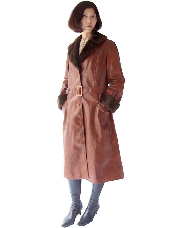 ロンドン買い付け 60年代製 ブラウン X ラビットファー襟・袖 ヴィンテージ レザーコート 15BS322