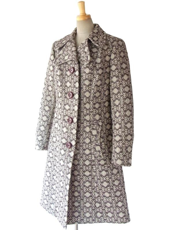 ヨーロッパ古着 ロンドン買い付け 60年代製 アイボリー X ブラウン ゴシック柄風 ヴィンテージ ウールツイード コート 15BS323