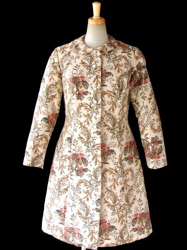 ヨーロッパ古着 ロンドン買い付け 60年代製 ベージュ コブラン織り 花柄 ヴィンテージ コート 15BS324