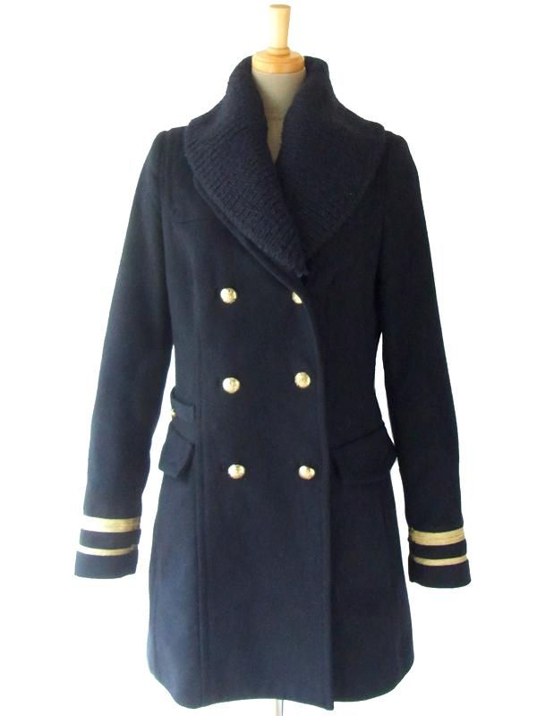 ヨーロッパ古着 ロンドン買い付け 60年代製 ダークネイビー X ゴールドライン 取り外しのできる襟ニット ピーコート 15BS327