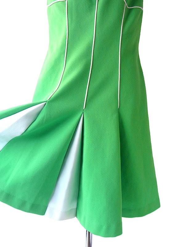 ロンドン買い付け 60年代製 ライムグリーン X ホワイト パイピング ボックスプリーツ レトロ ワンピース 15BS409