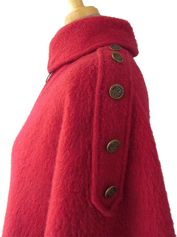 【送料無料】ロンドン買付 60年代製 レッド X ゴールド飾りボタン ヴィンテージ ウール ケープコート 15BS431【ヨーロッパ古着】
