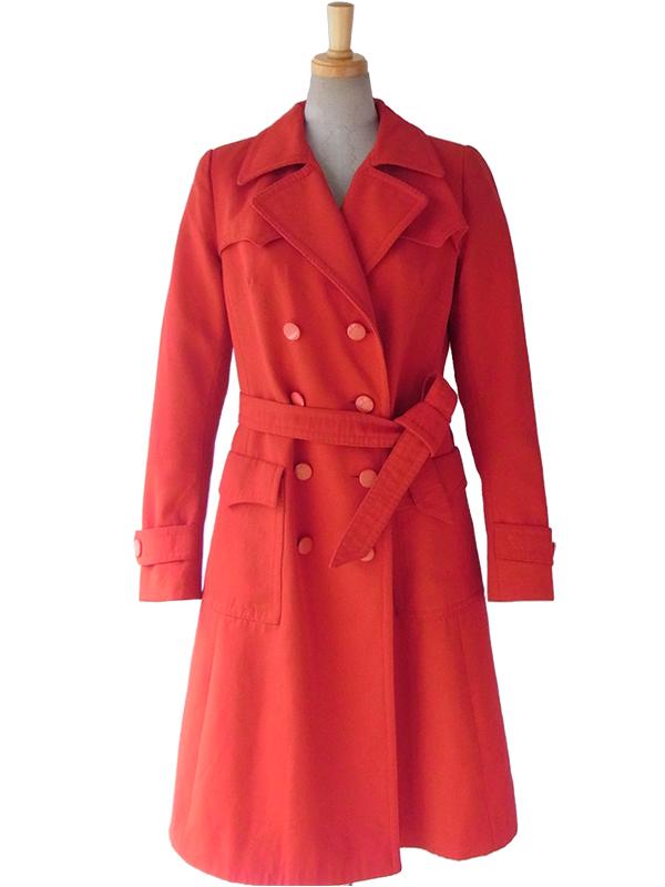 【送料無料】ロンドン買付 60年代製 レッド X 共布ベルト付き レトロデザイン トレンチ コート 15BS433【ヨーロッパ古着】