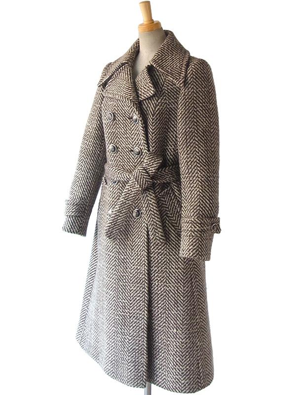 ロンドン買い付け 60年代製 ホワイト X ブラウン ヴィンテージ 厚手ツイード ウールコート 15BS437