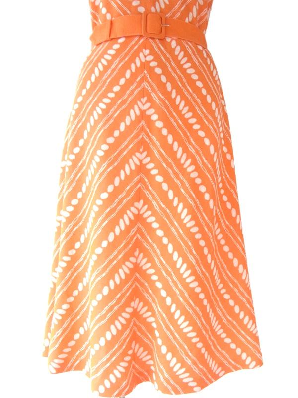 ヨーロッパ古着 60年代フランス製 オレンジ X ホワイト レトロプリント ヴィンテージ ワンピース 15FC010