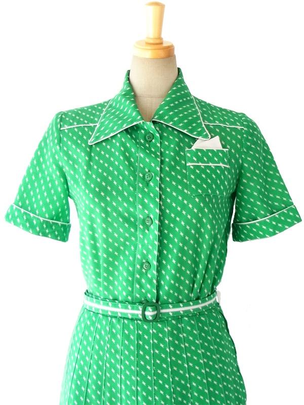 フランス買い付け 60年代製 鮮やかなグリーンXホワイト ポケットチーフ レトロ ワンピース 15FC106