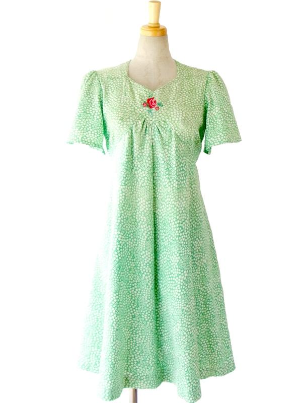 ヨーロッパ古着 フランス買い付け 60年代製 グリーン・ホワイト 小花柄 X 花柄アップリケ おとなかわいい ワンピース 15FC221