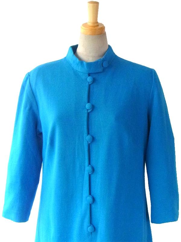 ヨーロッパ古着 フランス買い付け 60年代製 ターコイズブルー X かけボタン レトロ ウール ワンピース 15FC419