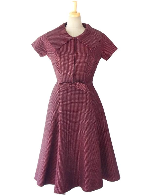 ブラックX光沢のある糸が縫い込まれた生地 ウェストリボン エレガントなシルエットのヴィンテージ ドレス 15OD030