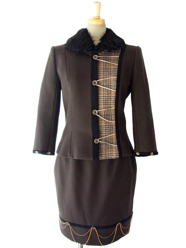 ダークブラウン X ブリティッシュチェック フェイクファー襟付き ウール ジャケット X スカート セットアップ 15OD400