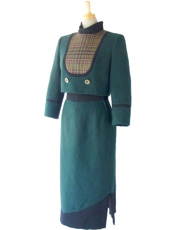 デッドストック 美しい濃厚なグリーン ウール ジャケットXスカート セットアップ  15OD403