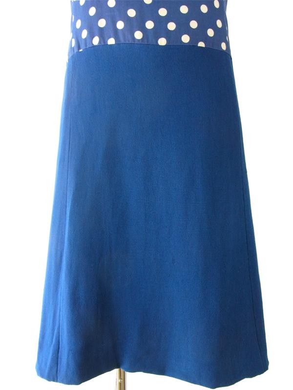 ヨーロッパ古着 ロンドン買い付け 60年代製 ブルーXホワイト 水玉 大きなリボン ヴィンテージ ワンピース 15OM128