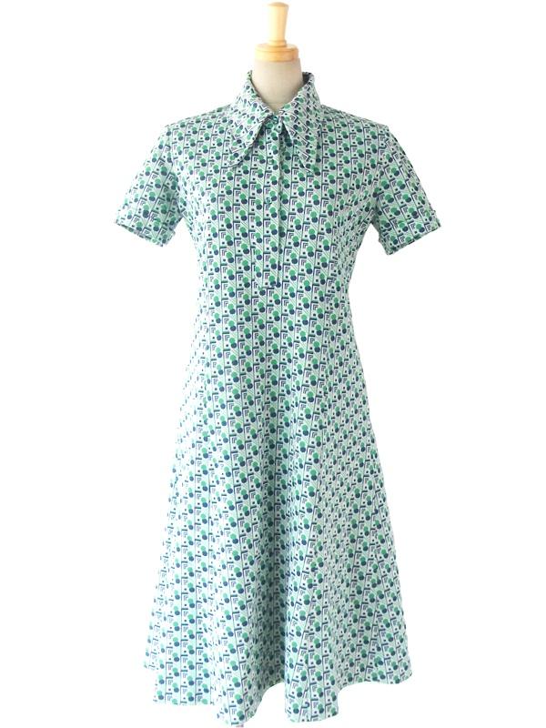 ヨーロッパ古着 ロンドン買い付け 60年代製 グリーン X ブルー 水玉・幾何学プリント レトロ ワンピース 15OM201