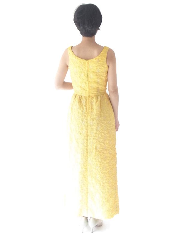 ロンドン買い付け 60年代製 レモン色 X シルバーラメ糸花柄刺繍 マキシワンピース 15OM402