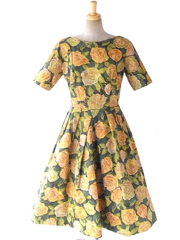 ヨーロッパ古着 ロンドン買い付け 50年代製 グリーン X オレンジ 油彩画のような花柄プリント ヴィンテージ ワンピース 16BS002