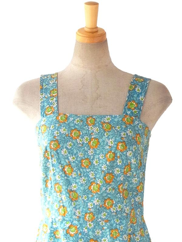 ヨーロッパ古着 ロンドン買い付け 60年代製 水色 X オレンジ・グリーン 花柄 ヴィンテージ ワンピース 16BS024