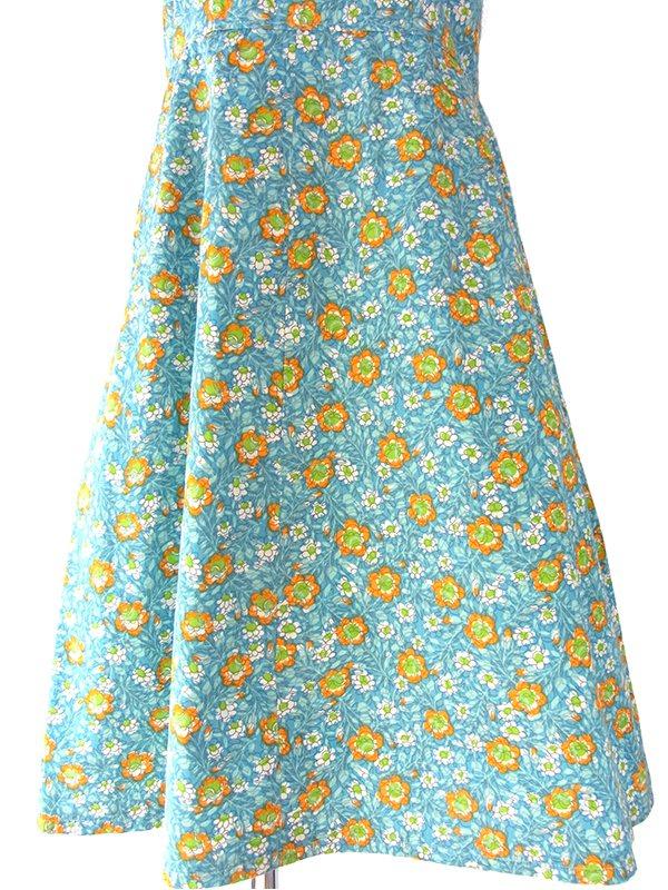 ヨーロッパ古着 ロンドン買い付け 60年代製 水色 X オレンジ・グリーン 花柄 ヴィンテージ ワンピース 16BS023