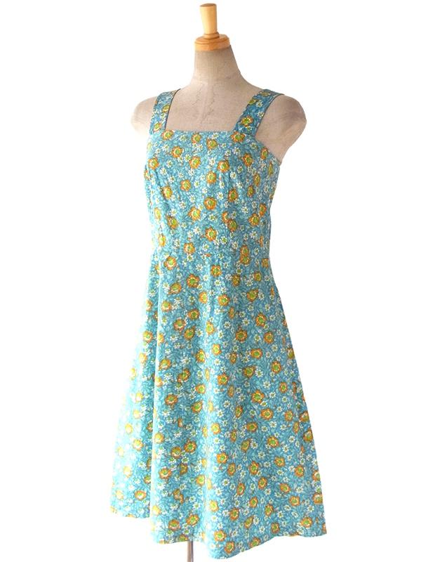 ヨーロッパ古着 ロンドン買い付け 60年代製 水色 X オレンジ・グリーン 花柄 ヴィンテージ ワンピース 16BS022