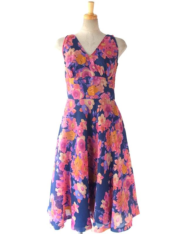 ヨーロッパ古着 ロンドン買い付け 60年代製 ブルー X ピンクを基調としたカラフルな花柄 ヴィンテージ ワンピース 16BS020