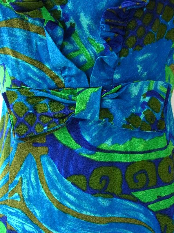 ロンドン買い付け 70年代ハワイ製 ブルー X グリーン 南国風プリント ウェストリボン付き ワンピース 16BS102